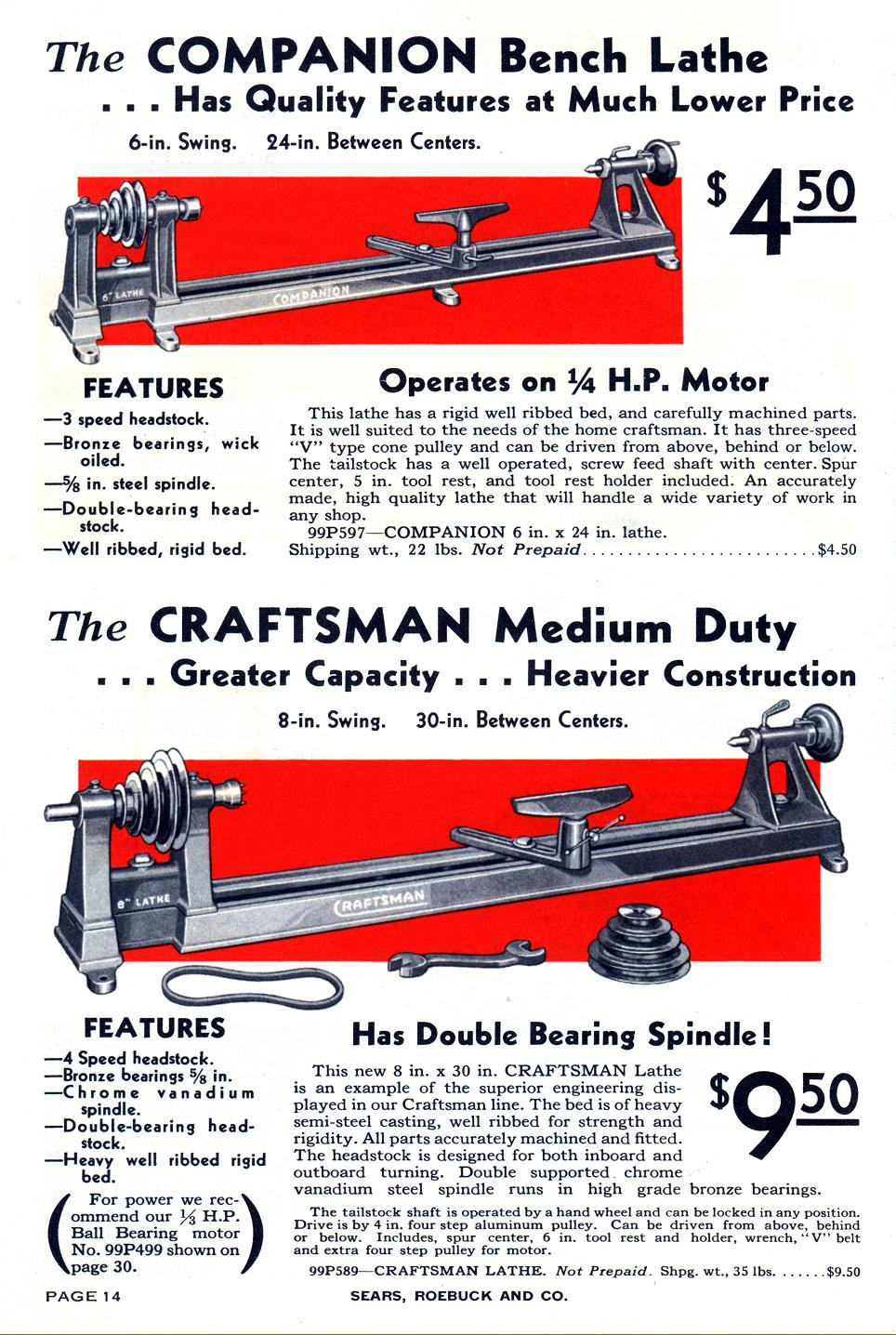 "Above: wood lathes manufactured by Herberts and marketed by Sears, Roebuck  and Co. during 1933. Lathes branded ""Companion"" were always the cheaper  option"
