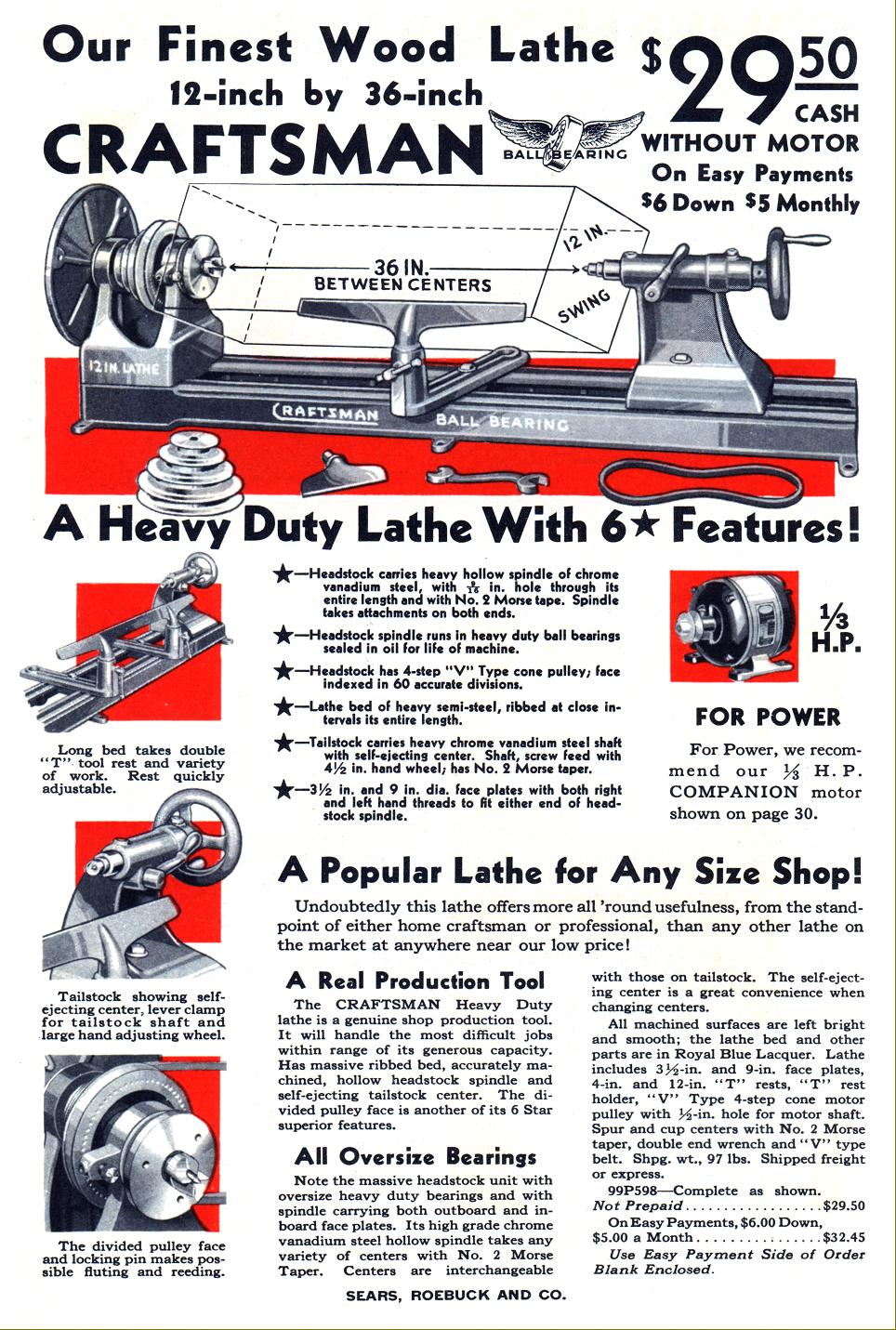 Above: 1933 advertisement for a top-of-the-range Herberts'-manufactured  ball-bearing spindle wood lathe