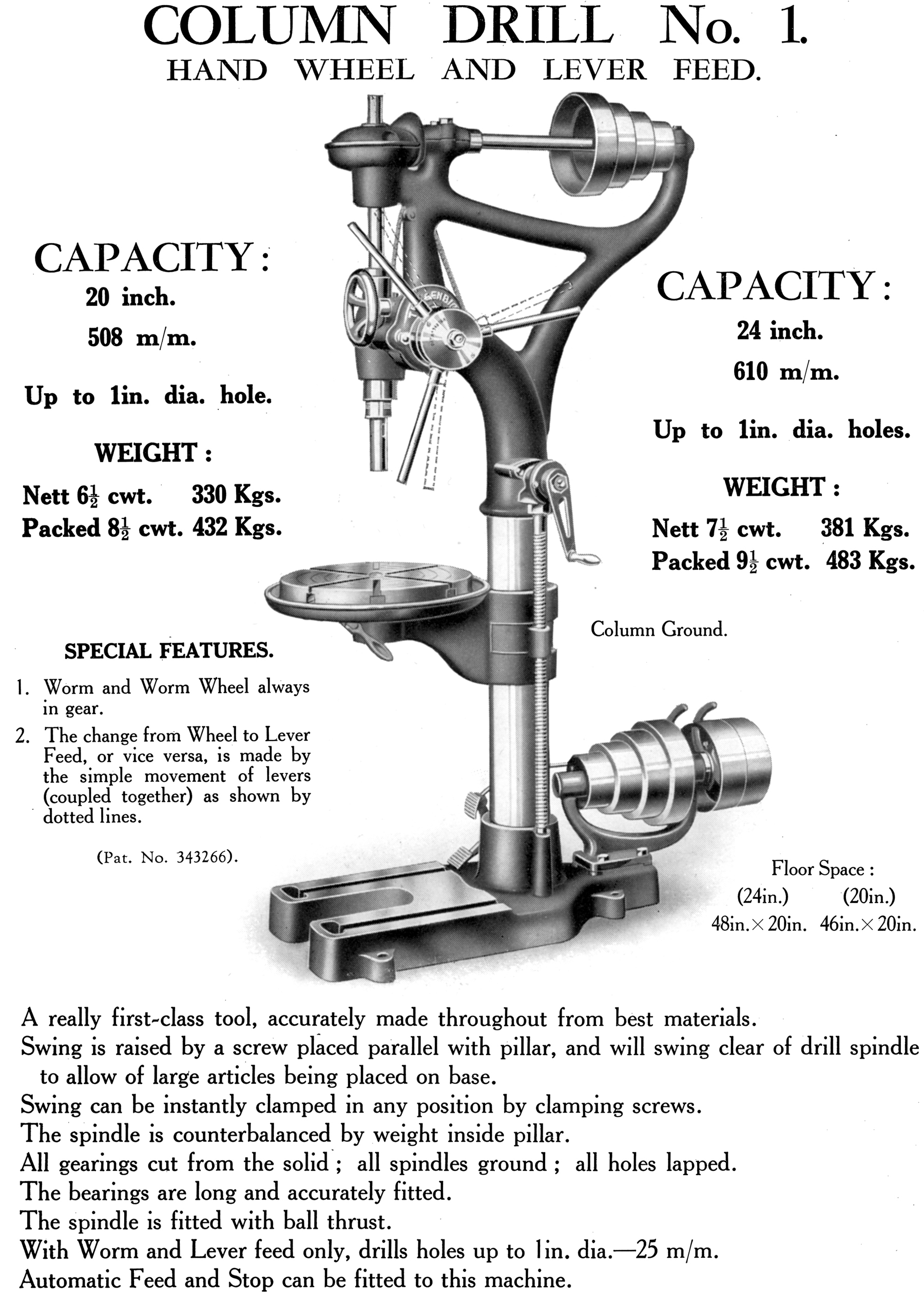 Mechanical hand drilling machine