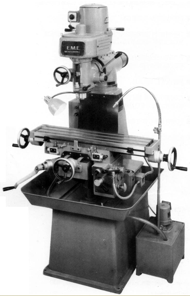 E.M.E. turret-head milling machine Type VO-A2F. Identical to the machine  offered by Myford as their VM-F, the VO-A2F was a heavily-built machine  with a very ...