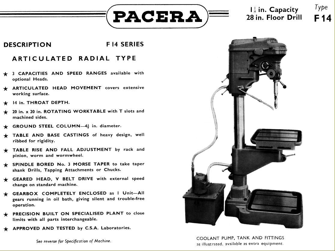 pacera drills 1940s 1950s rh lathes co uk Labled Pillar Drill Pillar Drill Bit