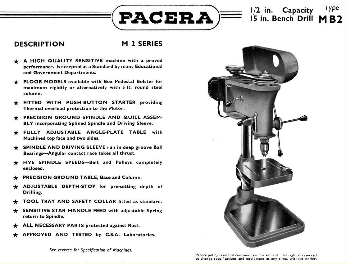 pacera drills 1940s 1950s rh lathes co uk Pillar Drill Labeled Pillar Drills UK