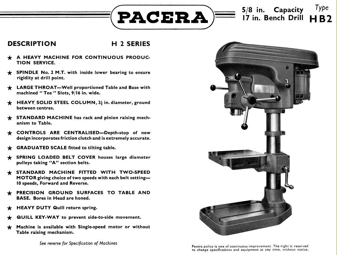 pacera drills 1940s 1950s rh lathes co uk Bearing Pillar Drill Labled Pillar Drill