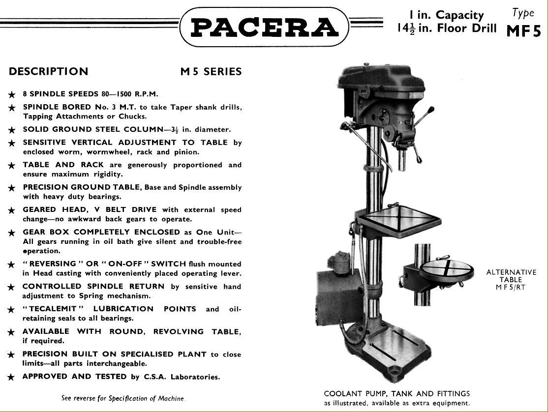 pacera drills 1940s 1950s rh lathes co uk Labled Pillar Drill Pillar Drill Diagram
