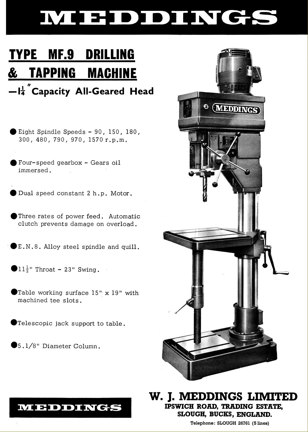 Manuals & Parts Books are available for Meddings Drills & Bandsaws, etc.